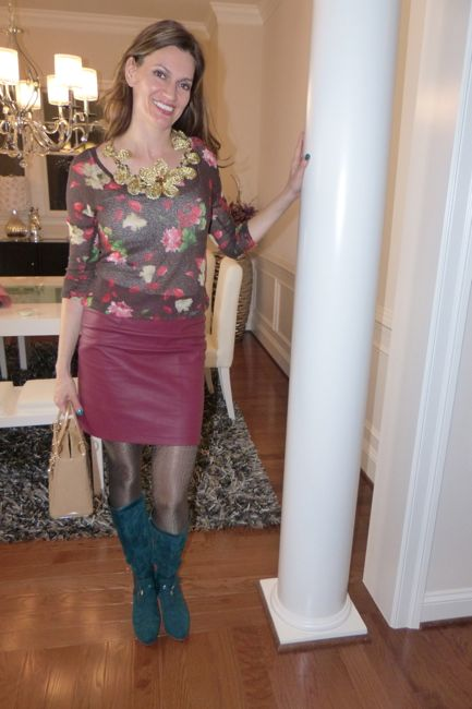 Ox Blood Leather Skirt and Flower Power | Diamond Leone