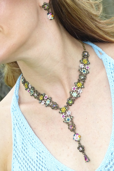 Pic3-Vintage floral necklace and earring set