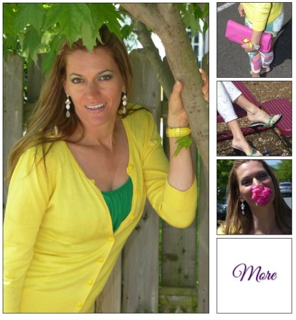 Lemon or Lime :: Swirled Capris & Neon Cardigan