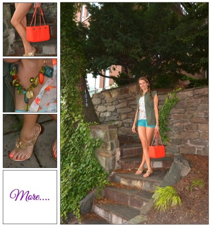 A Georgetown Affair :: Army Green Vest & Neon Birdies