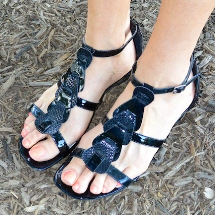 Diamondleone.com - Black patent leather sandals