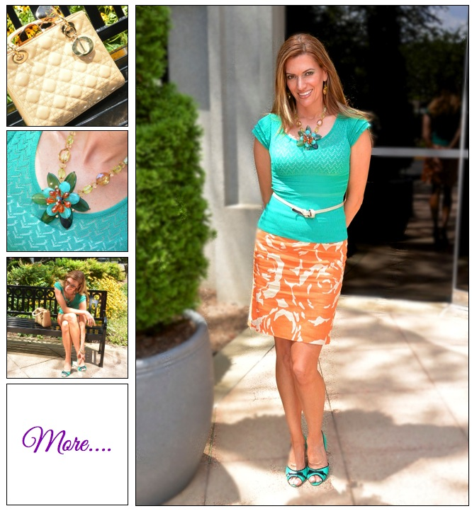 Fashion Challenge :: Creamsicle Skirt & Statement Necklace