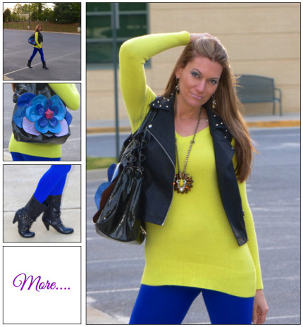 Neon Fling :: Studded Leather & Cobalt Leggings