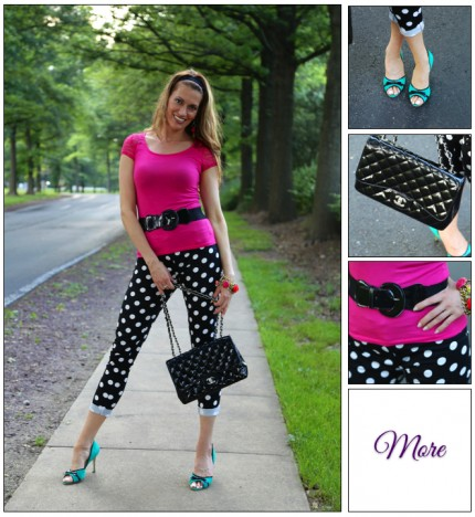 Polka Dot Date ::  Tapered Capris & Laced Pink Tee