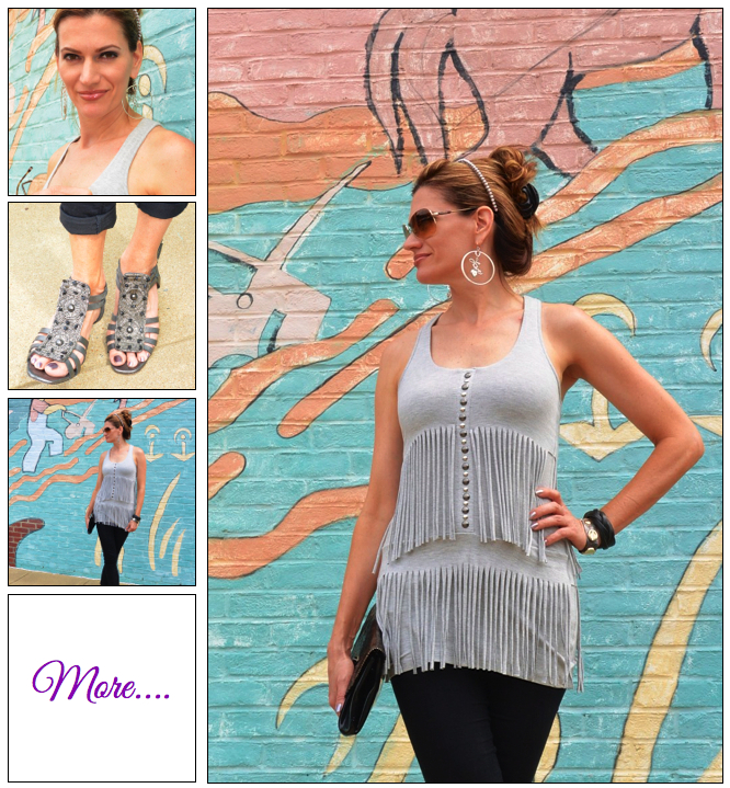 Graffitti Goddess :: Fringe Tank and Denim Capri's