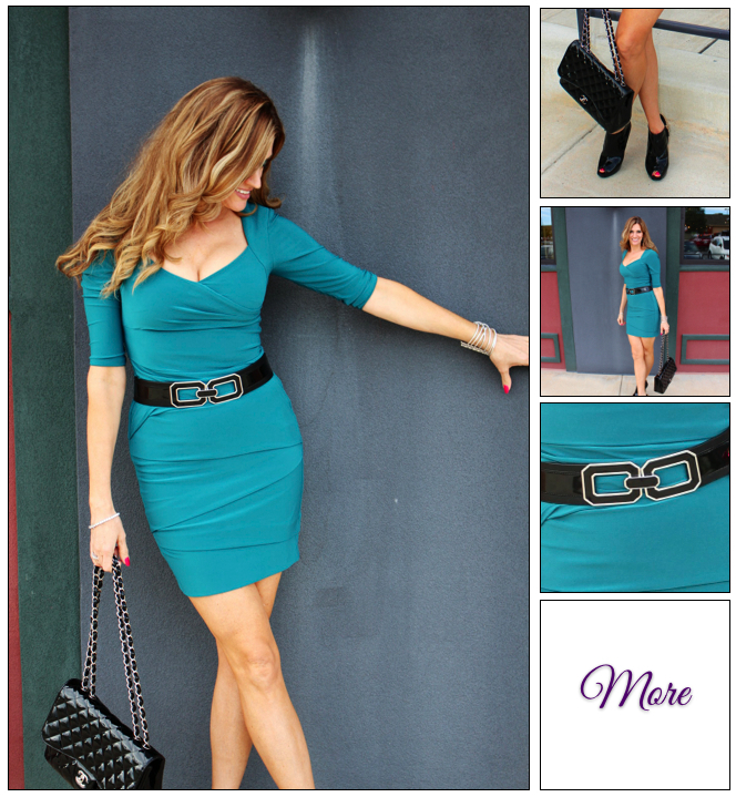 Steppin Out :: Emerald Fitted Dress & Patent Leather Booties