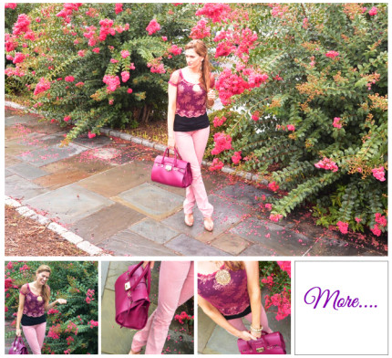 Girly Girl :: Cropped Floral Lace & Pink Denim