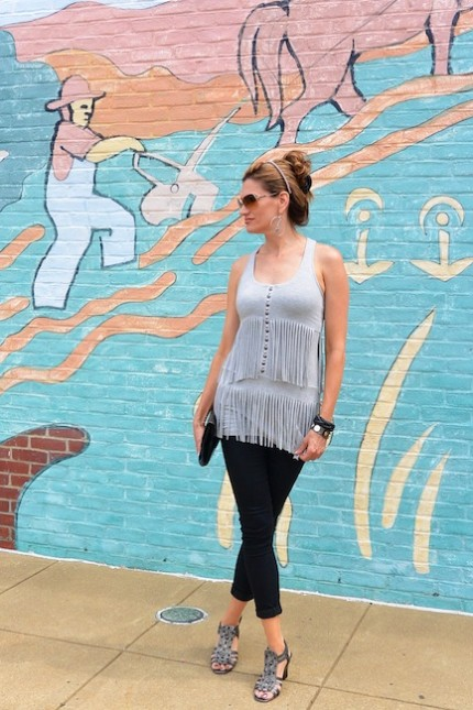 DiamondLeone.com - Gray fringe top by Guess