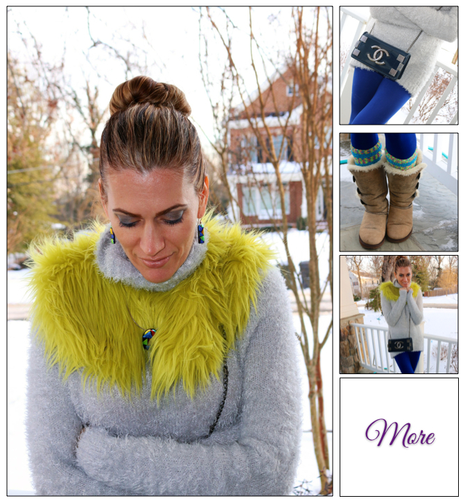 Happy Go Lucky :: Fur Collar & Neon Leggings