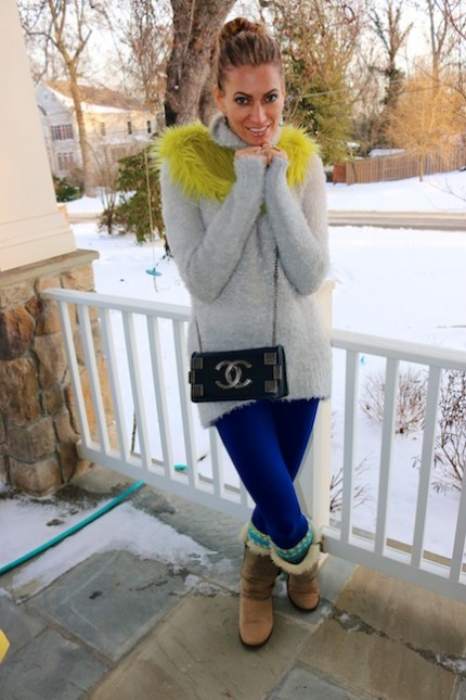 DIamondLeone.com - Neon Fur Collar and cobalt blue leggings 4