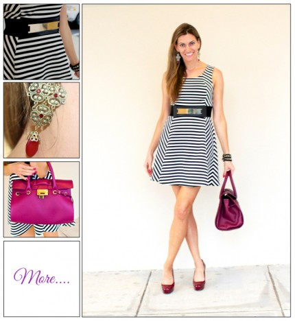Simple Stripes :: A-Line Dress & Berry Accessories