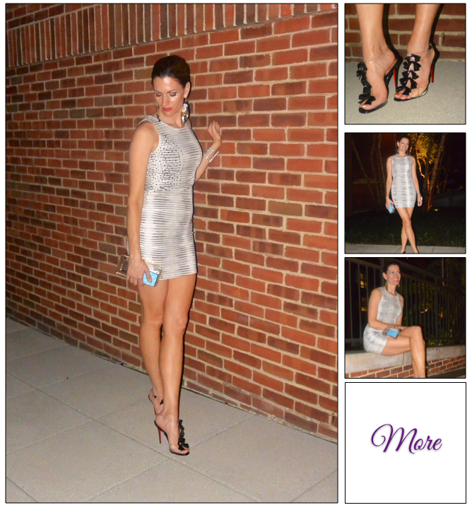 Ooh La La :: Striped Bandage Dress & Transparent Louboutins